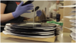 vinyl records being manufactured