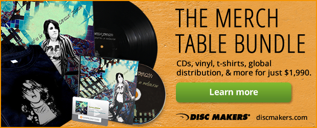 Merch Table Bundle:CDs, vinyl, t-shirts, global distribution, & more