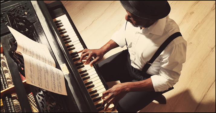 A pianist employing the use of a pedal point.