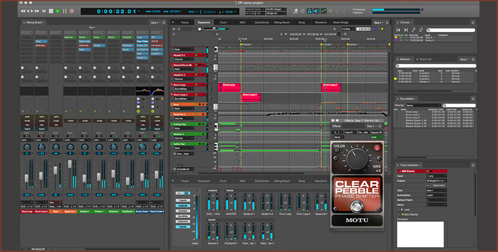 A DAW interface illustrating the use of various audio plug-ins.