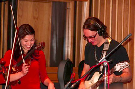 Ann Marie Calhoun and Steve Vai ready to go during the Capitol Records recording session for Live Music.