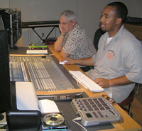 Phil and Jeff evaluating the recorded drum tracks in the control room.