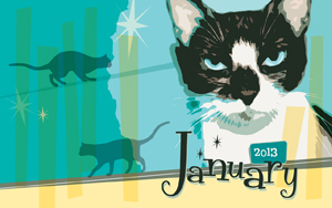 "January wallpaper inspired by ""Stray Cat Strut"" by the Stray Cats"