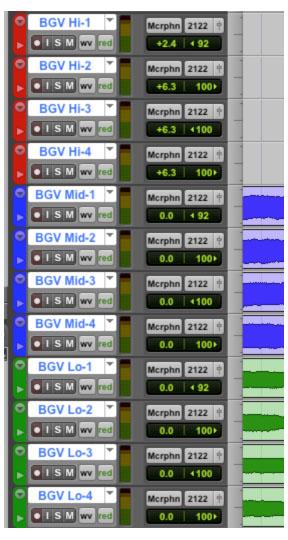 Track Groups for background vocals