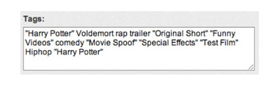 Tags used for one of the Harry Potter vs. Voldemort rap videos featured on a YouTube channel.