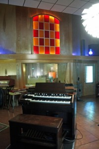 Looking into the studio and its beautifully restored Hammond organ.