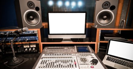 A studio set up with the right equipment for mixing rap vocals.