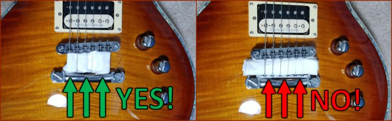 An image displaying the right and wrong way to dampen guitar strings for recording