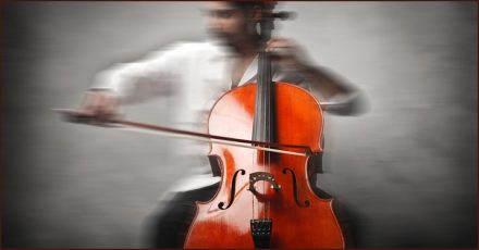 A cellist recording for remote music collaboration.