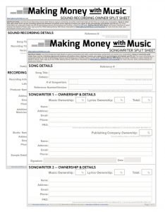 money with songwriting split sheet